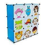 Kinderzimmer Steckschrank - Set aus 9 Modulen, Blau - DIY Steckregal System Regalschrank - Grinscard