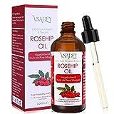 VSADEY Aceite de Rosa Mosqueta Orgánico 100% Puro y Natural Prensado en Frío con Ácidos Grasos Insaturados, Vitamina C Antienvejecimiento Eliminar Cicatrices Revitaliza la Piel y El Cabello - 100ml