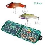 Hootracker 85 pcs/Set señuelo de Pesca Kits Mixed Universal Juego de señuelos de Pesca con Caja de Aparejos de Pesca Surtidos - Incluyendo Spinner, VIB, Agudos Ganchos, Ganchos, eslabones giratorios