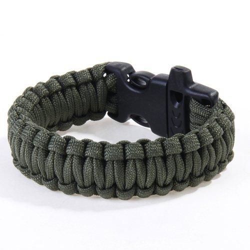 23cm Bracelet Paracord Bracelet de Survie Corde de Parachute avec Boucle Plastique - OD Vert