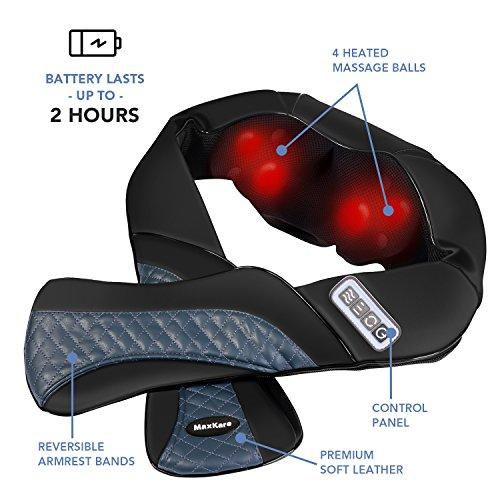 MaxKare Appareil de Massage Sans Fil Shiatsu Masseur Portable pour Dos, Cou, Nuque et Épaules 3D Rotation Bidirectionnelle avec Fonction de ... 5