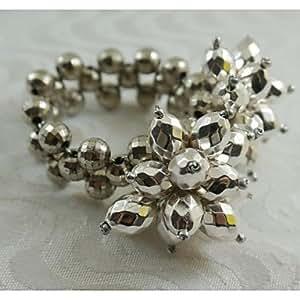 X7 oro argento anello perle di cristallo fiore tovagliolo, acrilico, 1.77inch, set di 12 , Golden