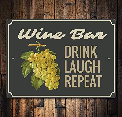 Weinbar, Wein-Dekoration, Wein-Bar, Geschenk, Weinliebhaber, Wino Dekor, Wein-Schild, Wein-Geschenk, Hochwertiges Metall, 20,3 x 30,5 cm ()