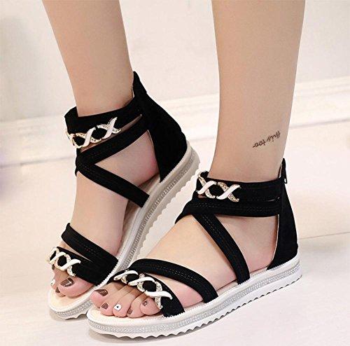 Riemchen-Sandalen Frauen beiläufige flache Sandalen weiche Bodenbeutel mit weiblichen Studenten Sandalen Sommer Sandalen und Pantoffeln Black