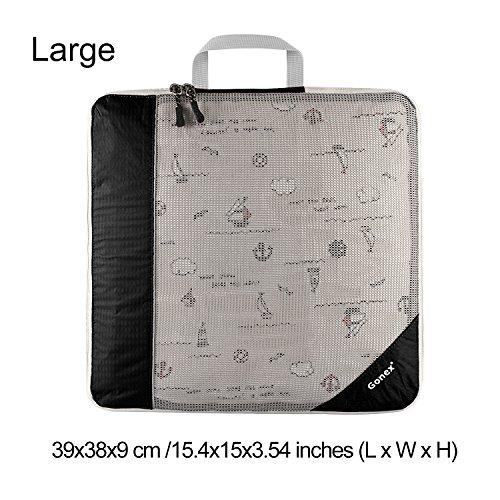 Gonex Kleidertaschen Verpackungswürfel Kofferorganizer Gepäck verschiedenes Set (L)Schwarz