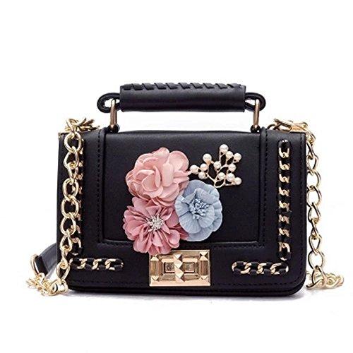Mode Damen Leder Kette Messenger Bag Flower Handtasche Damen Mädchen Mini Crossbody Taschen Raupe Florals Flap Tasche Frau Geldbörse, Schwarz, Pink, MiniMax Länge < 20 cm (Flap Cross-body Mini-tasche)
