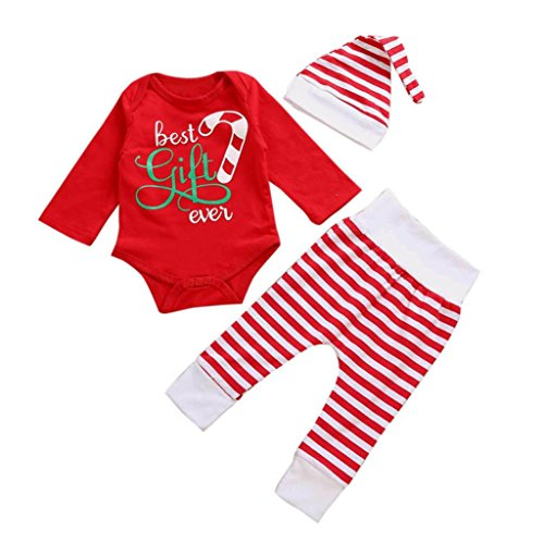 URSING Weihnachten Neugeboren Kinder rot Overall Spielanzug Tops + Streifen Lange Hosen + Hut Baby Mädchen Santa kleid Outfits Kleidung Set (0-6M, Rot) (Santa Outfit Mädchen)