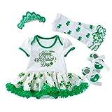 TENDYCOCO 4PCS / Set Traje de tréboles del día de San Patricio Feliz Traje Conjunto con Zapatos de Vestir y Diadema para bebé de 12-24 Meses