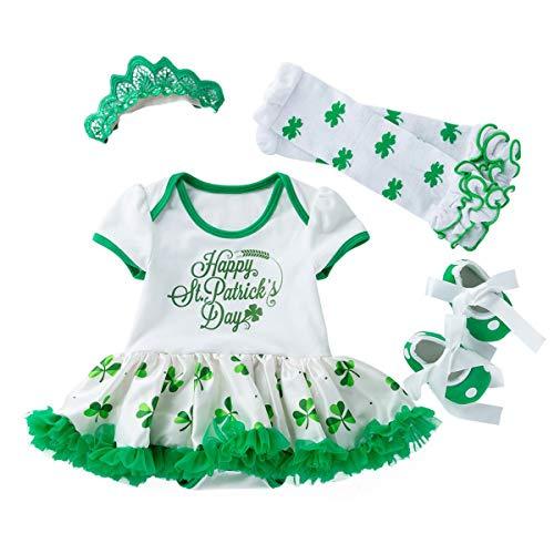 TENDYCOCO 4 Teile/Satz glücklich st Patricks Tag Outfit Shamrocks kostüm Set mit Kleid Stocking Schuhe und Stirnband für 0-3 Monate Baby (Glücklicher Kobold Kostüm)