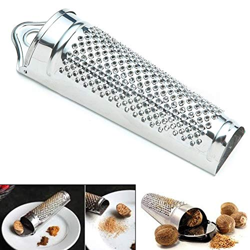 Hinmay Ingwer Knoblauchreibe - Praktische 430 Edelstahl Muskatreibe - leicht zu reiben Lebkuchen/Knoblauch/Käse/Schokolade/Nüsse/Zitrone/Orange/Küchen-Werkzeug