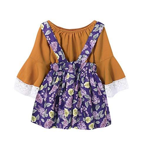 Mädchen Süß Schön Set,Langarm Bedrucktes Shirt + Sling Kleid Baby Herbst Winter Prinzessin Party Festlich Anzug Tägliche Baumwolle Outfit