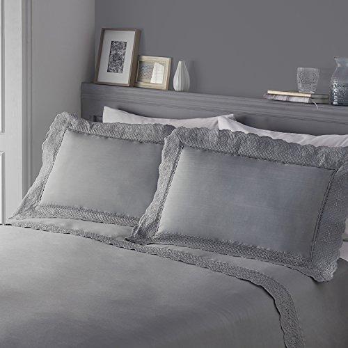 Serene–Renaissance–Bestickt Spitzenbesatz Bettbezug Set, Silber, Doppelbett