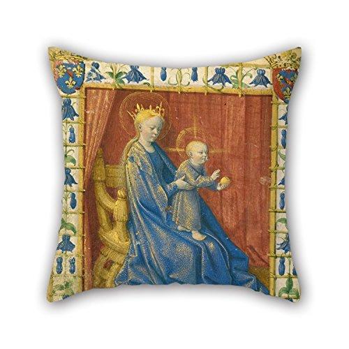 Preisvergleich Produktbild Ölgemälde Jean Fouquet (Französisch, Born über 1415–1420, starb vor 1481)–Die Jungfrau und Kind Thronende Kissenbezüge 50,8x 50,8cm/50, von 50cm Beste Wahl für Spielen Raum, Deck