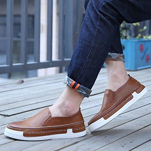 Xianshu Hommes Flâneurs Enfiler plat Conduite Chaussures Marron