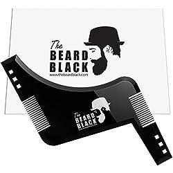 Herramienta de modelado y corte de barba con peine integrado para una línea perfecta y bordes, uso con un cortador de barba o una maquinilla de afeitar para el estilo de su barba y vello facial, producto de calidad superior de The Beard Black