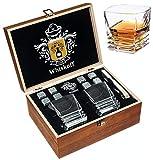 Set Regalo di Pietre per Bicchieri di whisky - Bicchiere per Scotch Bourbon con Base pesante - Pietre per Whisky Rocce Raffreddanti in confezione regalo in legno - Idea regalo Burbon