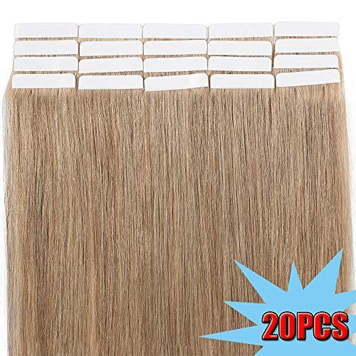 40cm extension capelli veri adesive riutilizzabili - 20 fasce 50g #27 biondo scuro - 100% remy capelli umani peruviani