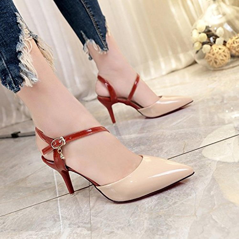 Xue Qiqi Wild punta la luce luce luce è bene con la Baotou sandali tirante asolato a vuoto a tacco alto scarpe donna e,34...   Miglior Prezzo  ea7db8