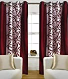 Super India Floral Polyester Window Curtain - 5ft, Maroon