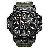 ZRSJ Herren Sportuhr LED Military Armbanduhr 50M Wasserdichte Sportuhr Rubber Shock Resistant Casual Uhr (Army Green)