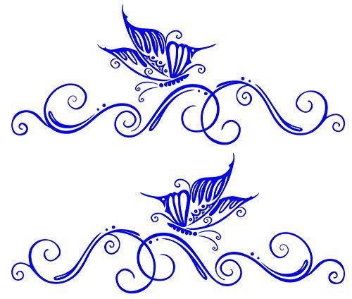 2 x Schmetterling Aufkleber für Motorhaube Heckscheibe Seite oder Autoscheibe (1x links 1x rechts) - ca 58 x 25 cm - Autodekor Autoaufkleber Car Tattoo Auto Car Blumenranke Ranke (dunkelblau) -