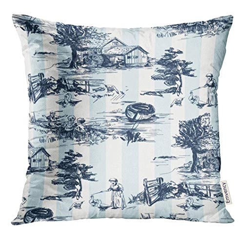 lassic with Old Town Village Scenes Countryside Life in Toile De Jouy Blue and White Color Landscapes Decorative Pillow Case Home Decor Square 18x18 Inches Pillowcase ()