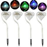 ShenYo Solar-Bewegungsmelder-Lichter, mit Farbwechsel, Edelstahl, Diamant-LED-Solar-Lichter, Garten-Laternen für Gehweg, Terrasse, Rasen, Hof, Außendekoration