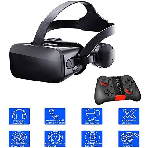 3D VR Brille Für Handy Video Movie Game Brille Virtuelle Realität Headset Kompatibel Von 4.5-6.2 Zoll Smartphones Kommt Mit Stereo-Kopfhörern Fernbedienung Mit Griff