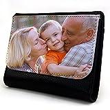 Lolapix - Cartera Mediana Personalizada con tu Foto, diseño o Texto, Original y Exclusivo. Simil Piel Color Negro