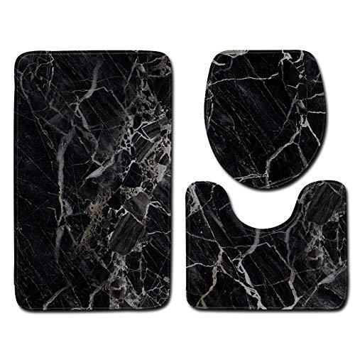 Marmor-WC 3-teiliges Set aus Saugfähigem Rutschfestem Waschbarem Fußmatten Badteppich Türmatte Badematte Antirutsch Grau Schwarz,L