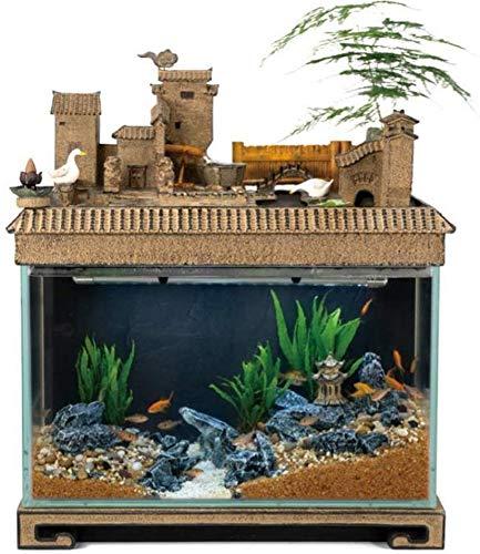 MTCWD Desk Aquarium Table Fish Tank Interior Decoration Humidification Natural Landscape Home Decoration Indoor Fountain…