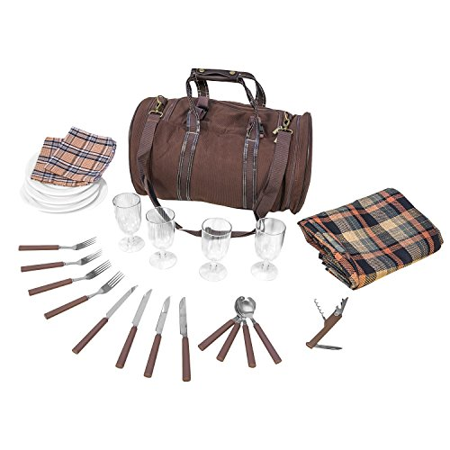 Inspirion 600519bolsa de picnic con vajilla para 4personas width=