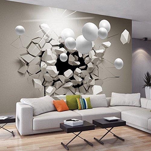 Murando papier peint intissé 400x280 cm papier peint trompe l oeil tableaux muraux déco xxl abstraction sphere 3d a c 0002 a b