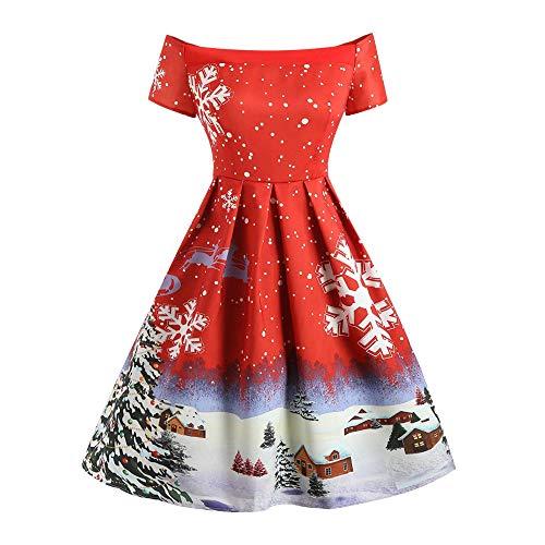 YWLINK Mode Off Shoulder Damen Retro Elegant Swing Kleid Weihnachten Schneeflocke Druck Cocktail...