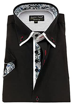 Men/'s Plain Cotton Shirt Button down Double collar Formal Casual Long sleeve.