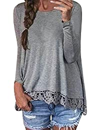 e042e892ea7 StyleDome Women s Sexy Casual Lace Crochet Long Sleeve Patchwork Round Neck  Solid Color Autumn Tops Blouse