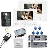 YA 7'Contraseña de RFID Video de la Puerta Sistema de intercomunicación del teléfono Timbre de la cámara 1000TVL 2 Monitor + Cierre eléctrico del Cerrojo 5-20 Metros