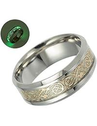 Anillo de compromiso KOBWA de titanio con diseño de dragón celta, luminoso, brillante,