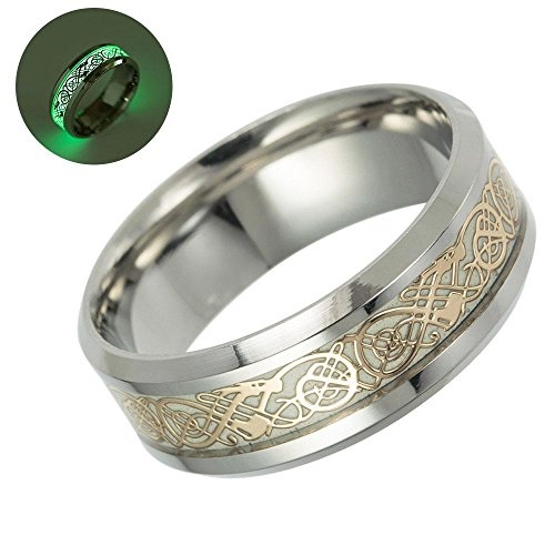 Kobwa Bague phosphorescente avec motifs dragons celtiques dorés Alliance en titane Bijoux Cadeau pour homme femme