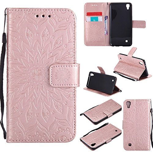 YHUISEN LG X Power Case, Sun Flower Druck Design PU Leder Flip Wallet Lanyard Schutzhülle mit Card Slot / Stand für LG X Power ( Color : Blue ) Rose Gold
