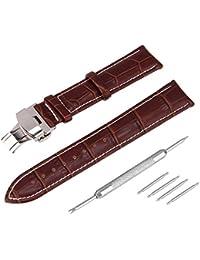 Beauty7 24mm Kit Cuero Duarble Correas para Relojes Hombres Mujeres Unisex Herramientas Agujas Piel de Vaca Pulsera Hebilla Impermeable Negro Marron Moreno
