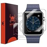 Skinomi TechSkin–Schutzfolie für Apple Watch, Apple Watch 1–42mm–für das Display und die Rückseite des Zifferblatt + Wasserfest