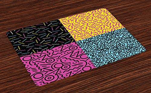 ABAKUHAUS Indie Platzmatten, Weinlese-Achtziger-Mode-Art-Muster-Bunte flippige Pop-ungewöhnliche Gekritzel-Druck, Tiscjdeco aus Farbfesten Stoff für das Esszimmer und Küch, Mehrfarbig