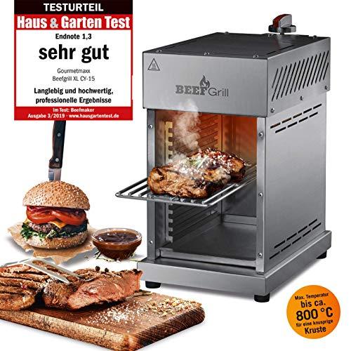 GOURMETmaxx Beef Maker | Oberhitze Gasgrill aus Edelstahl für Temperaturen bis zu 800° C | Hochleistungs Gas Grill für Steaks wie vom Profi | Stufenlos regulierbarer Gas-Keramikbrenner | 3,5 KW
