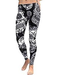 Romacci Sexy Femmes Yoga Leggings Sport Floral Tête de Crâne Taille Haute  Entraînement Courir Pantalon de 58677bffe7f