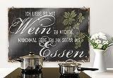 Spritzschutz Glasbild - Spritzschutz Ich liebe es mit Wein zu kochen - Panorama - Küchenspritzschutz - mit abgerundeten Ecken - 80x60 cm mit Klemmbefestigungen - SP42934 - Wall-Art
