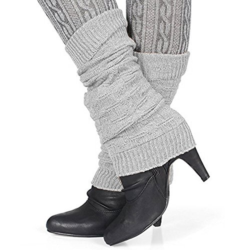 Distressed Damen Winter Stulpen mit Wolle Legwarmer (hellgrau)