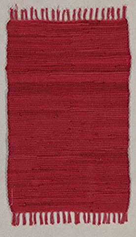 onloom Oriolo Rag Rug – The Ideal Cotton Rag Rug - In 5 Colours and 2 Sizes, Color Red, size 50x80cm
