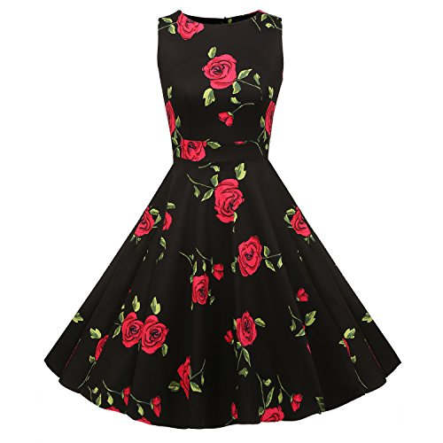 ACEVOG Elegant Damen Aermellose 1950er Retro Vintage Floral Party Cocktailkleider Abendkleider Sommerkleid Knielang Schwarz mit Blumen 3