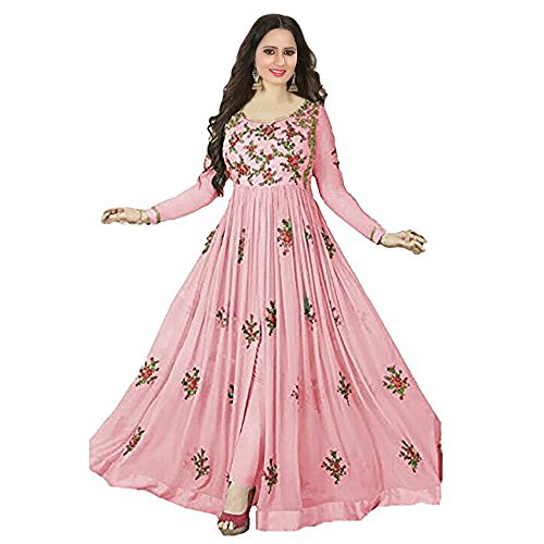 RTHub Women\'s Georgette Embroidered Semi Stitched Anarkali salwar suit (Pink_Free-Size_Aone-Pink)